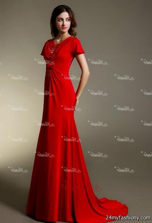 red evening gown with sleeves 2016-2017 » B2B Fashion