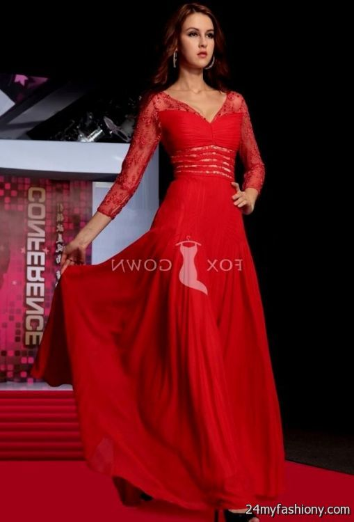 red evening gowns with sleeves 2016-2017 » B2B Fashion