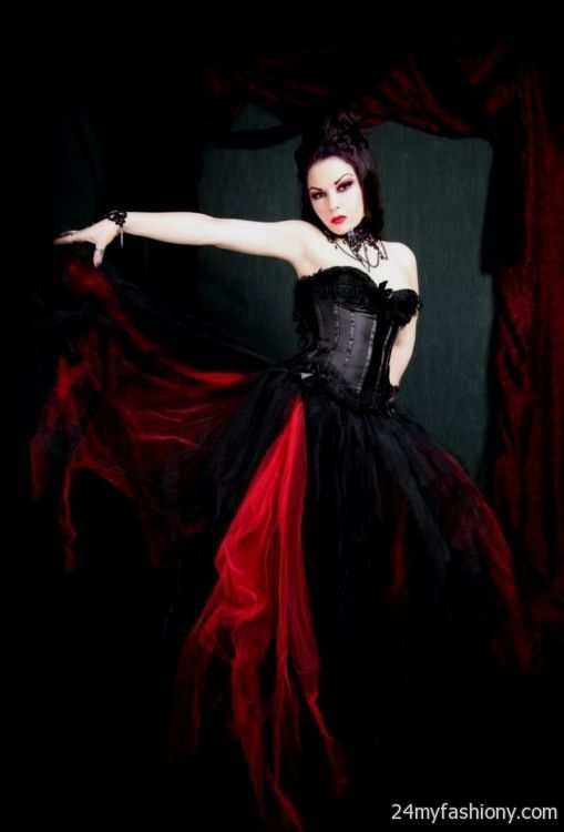 Red gothic wedding dresses 2016 2017 b2b fashion for Plus size gothic wedding dress