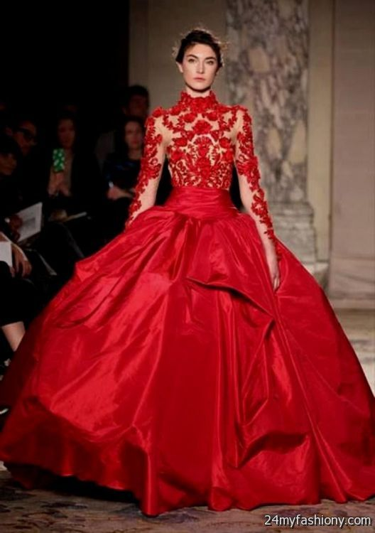 Red Lace Ball Gown Looks B2b Fashion