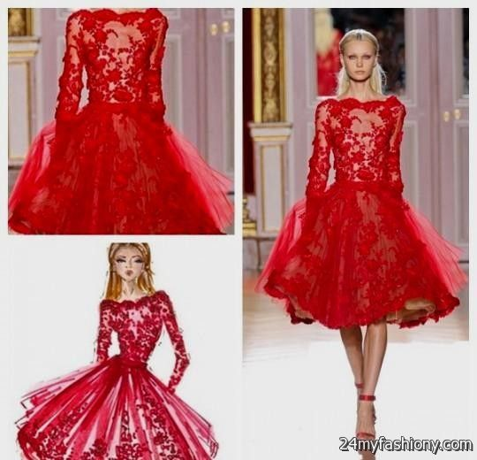 red lace cocktail dress with sleeves 20162017 b2b fashion