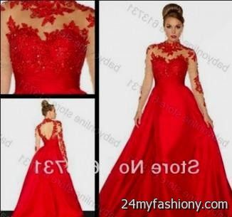 Red Lace Prom Dress With Sleeves - Missy Dress
