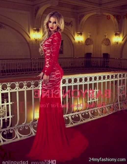 red lace prom dress with sleeves 2016-2017 | B2B Fashion