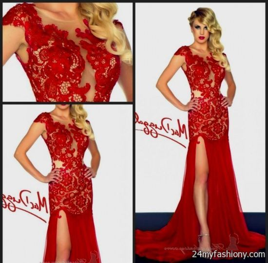 Red Lace Prom Dresses With Sleeves 2016 2017 B2b Fashion