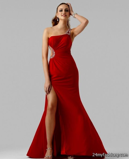 red one shoulder mermaid prom dress 2016-2017 » B2B Fashion
