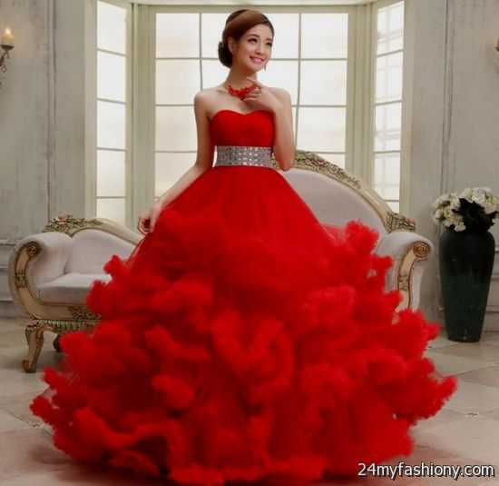 Princess ball gowns red 2017