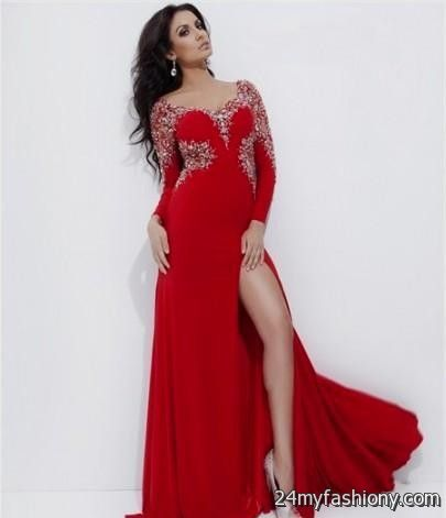 red prom dress with sleeves 20162017 b2b fashion
