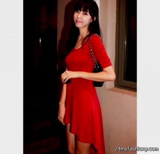 Red short dress with sleeves