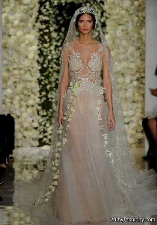 92030ed6a81 Reem acra blush lace wedding dress looks | B2B Fashion