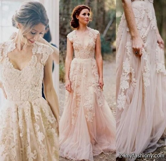 Blush Wedding Dress Reem Acra : Reem acra blush lace wedding dress b fashion