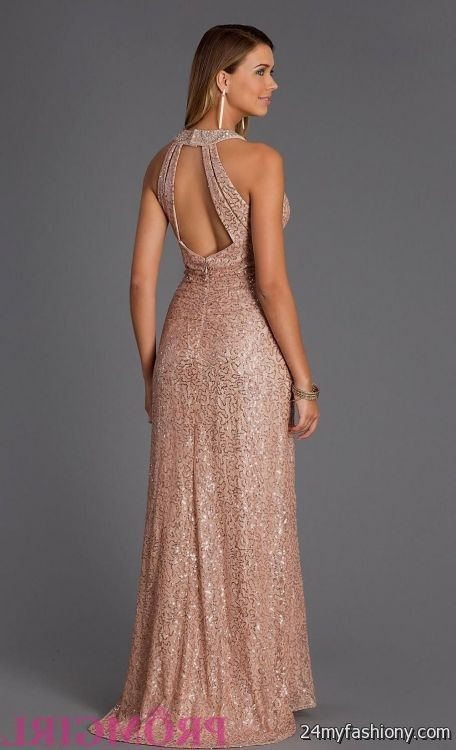 rose gold long bridesmaid dress 2016-2017