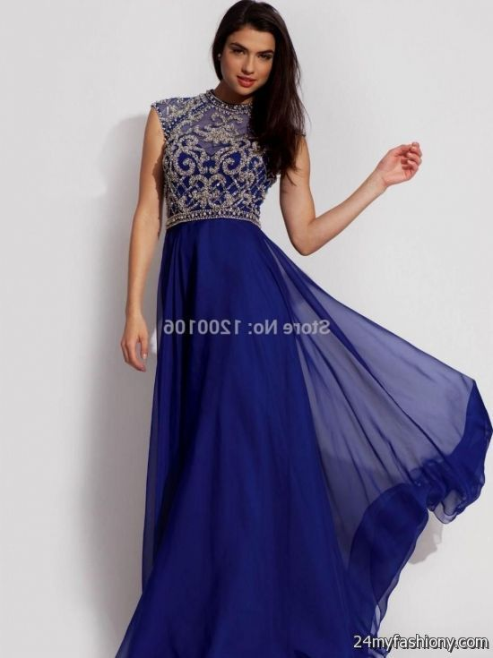 Blue and gold formal dresses