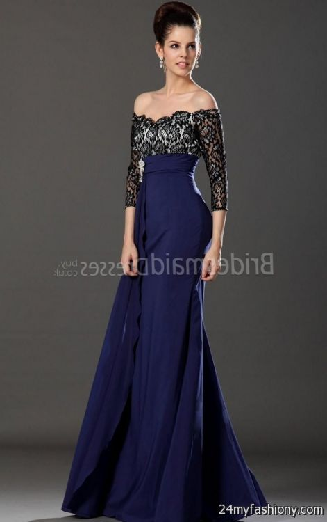 Midnight blue bridesmaid dresses with lace junoir for Midnight blue wedding dress