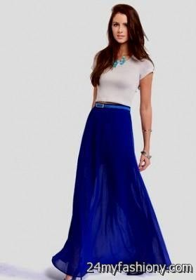 Royal blue and white maxi dress outfit