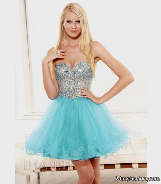Short Aqua Prom Dresses
