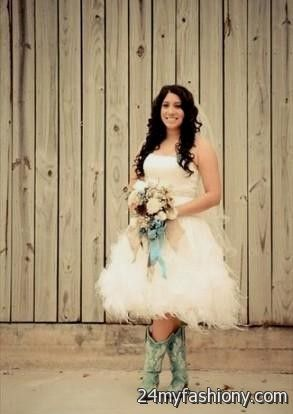 Short country style wedding dresses with cowboy boots 2016 for Short wedding dress with cowboy boots