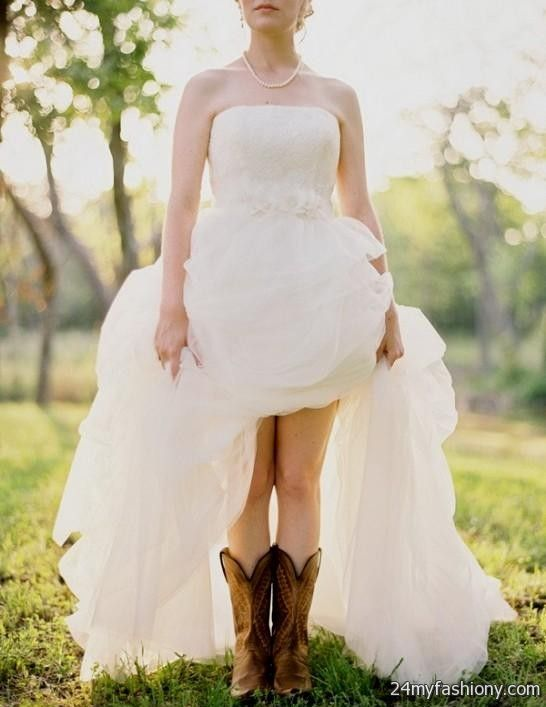 Short Country Style Wedding Dresses With Cowboy Boots 2016 2017