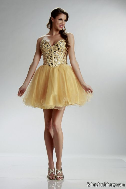 Short Gold Prom Dresses 2016 2017