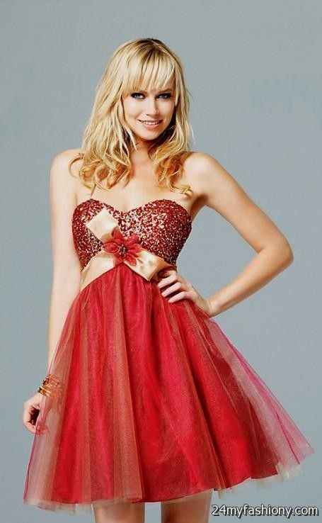 Short Red And Gold Prom Dress Looks B2b Fashion