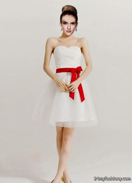 Short red and white cocktail dresses