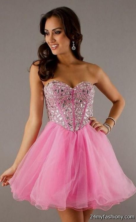 Short Strapless Pink Sparkly Prom Dresses Looks B2b Fashion