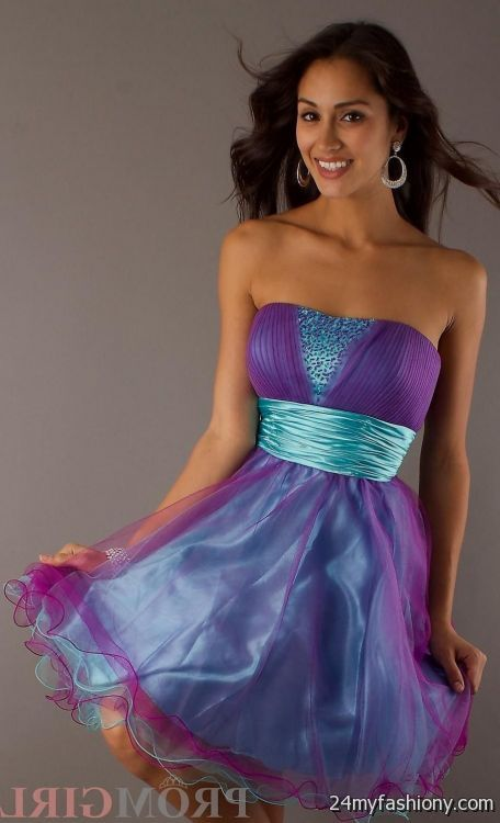 Short Strapless Purple Dresses For Teenagers - Missy Dress