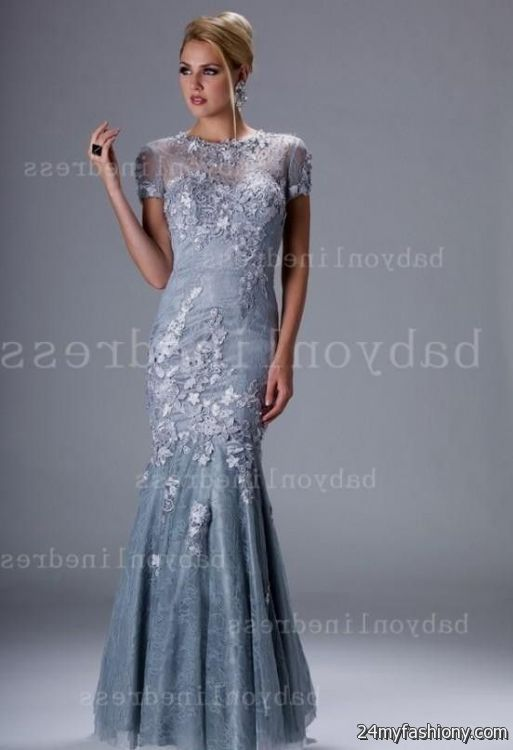 silver evening gowns with sleeves 2016-2017 » B2B Fashion
