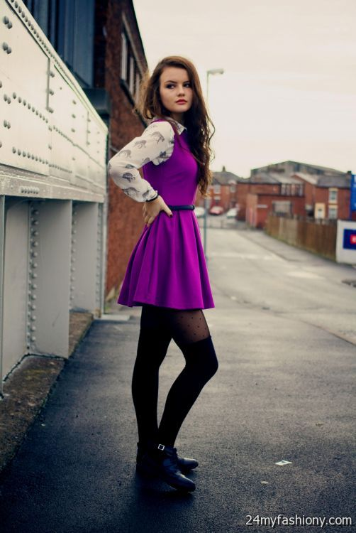 966cbbf5c7 skater dress with tights looks
