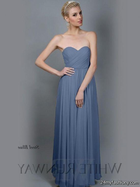 steel blue bridesmaid dress 2016-2017 禄 B2B Fashion