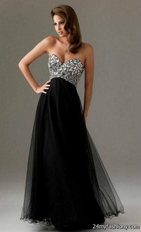 Strapless black formal dress