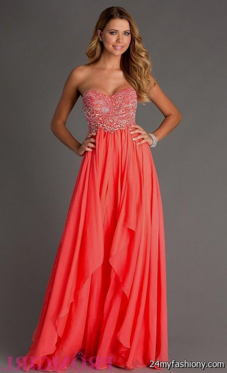 Images of Coral Prom Dress - Reikian