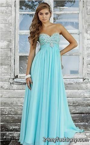 Light Blue Strapless Prom Dress _Prom Dresses_dressesss