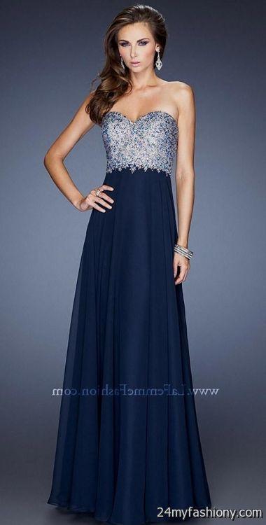 Navy Blue Strapless Prom Dress - Ocodea.com