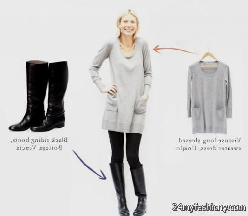Dress with leggings and boots