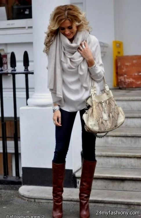 Sweater dress with leggings and brown boots 2016-2017 ...
