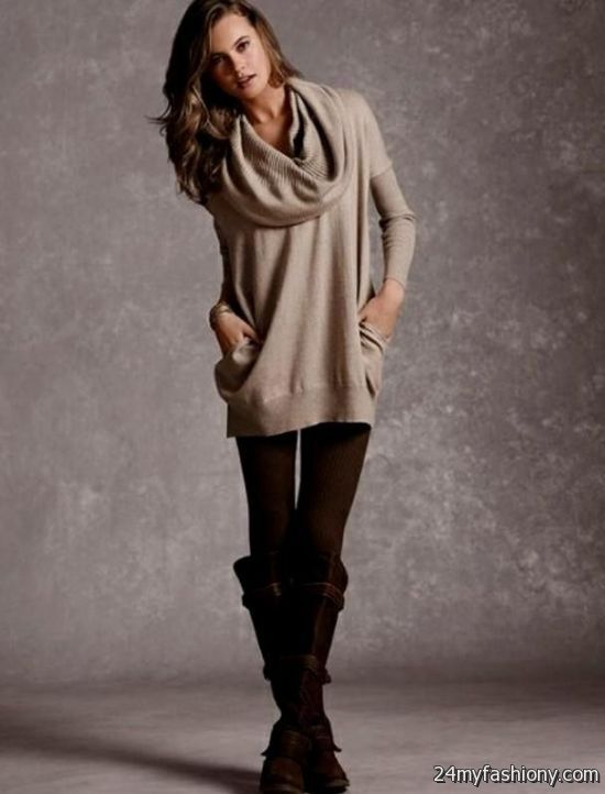 Sweater Dress With Leggings And Brown Boots Looks B2b