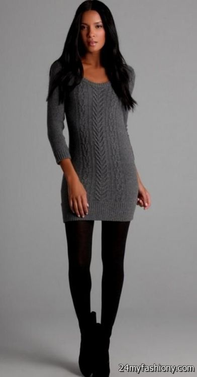 Sweater dresses with tights and boots 2016-2017 | B2B Fashion