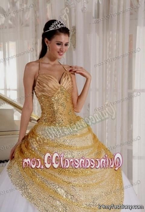 bfec0f71329 You can share these sweet 15 dresses white and gold on Facebook