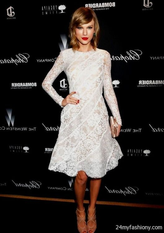 Taylor Swift White Lace Dress 2017 2018