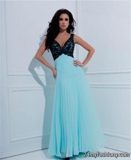 Teal and Black Prom Dresses