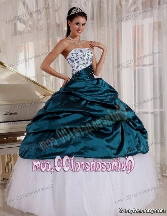 c1e1c82ac4b You can share these teal and white quinceanera dresses on Facebook