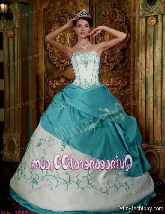 bf7692779ea You can share these turquoise and white quinceanera dresses on Facebook