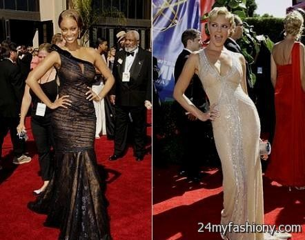 Tyra Banks Sexy White Deep Vneck Evening Dress Prom Gown