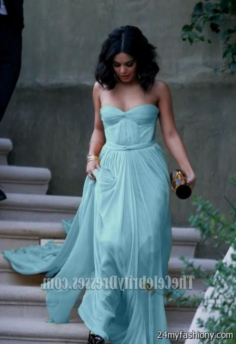 vanessa hudgens light sky blue strapless prom dress ...