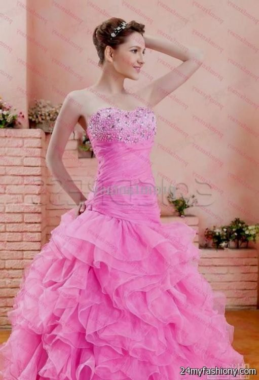 Pink Wedding Dresses Princess : Wedding dresses sweetheart neckline princess ball gown pink