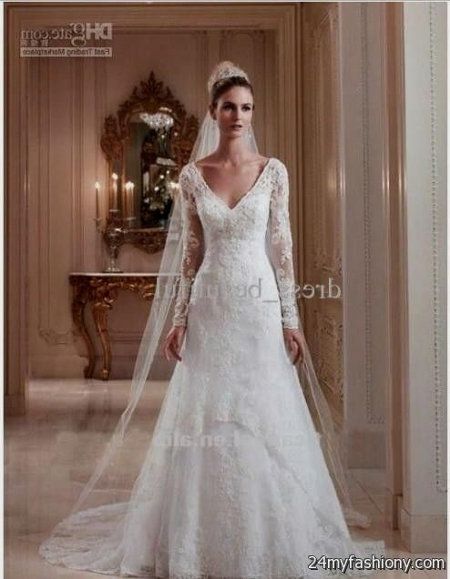 Wedding Dresses With Lace Sleeves 2017 : Wedding dresses with lace sleeves and open back