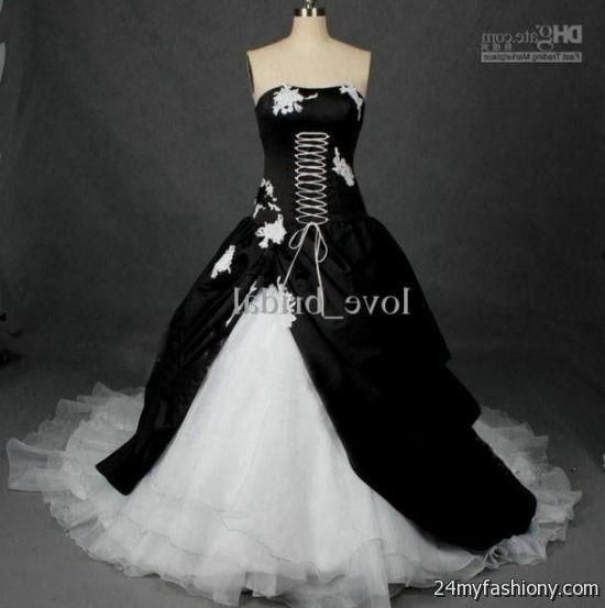 Plus Size Gothic Wedding Dresses 2016 2017: White And Black Gothic Wedding Dresses 2016-2017