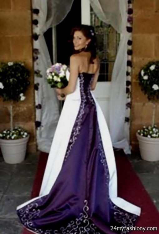 You Can Share These White And Dark Purple Wedding Dresses On Facebook Stumble Upon My Space Linked In Google Plus Twitter All Social Networking