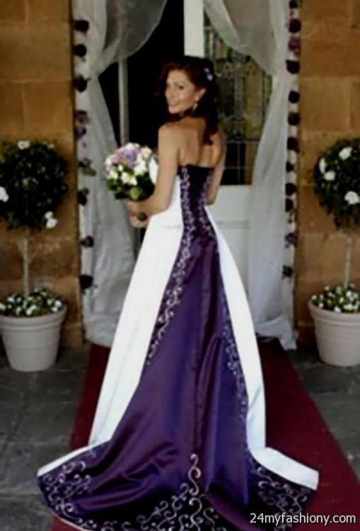 white and dark purple wedding dresses 2016-2017 | B2B Fashion