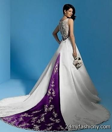 White And Dark Purple Wedding Dresses 2016 2017